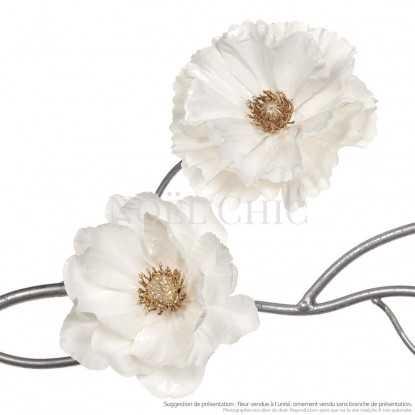 Fleur anémone effet porcelaine - Ivoire