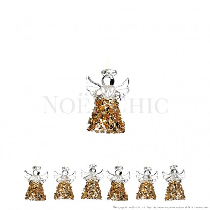 Mini anges en verre, éclats dorés - Lot de 6