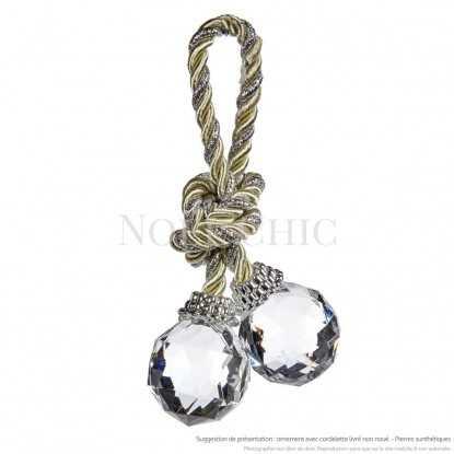 Duo de pierres façon diamant sur cordelette tressée