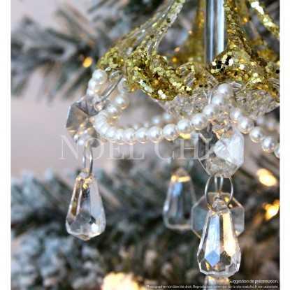 Lustre à pampilles en verre et perles : 2 modèles au choix