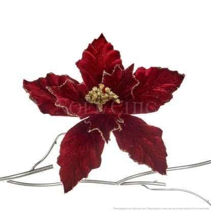 Fleur de Noël - Bordeaux effet velours