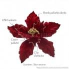 Fleur de Noël velours bordeaux : détails